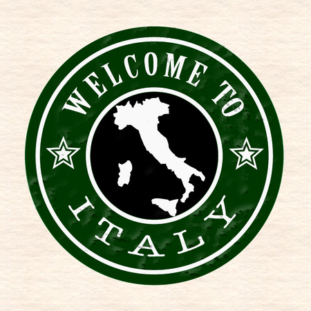 welcom: welcom to italy whit on grunge stamp vector illustration