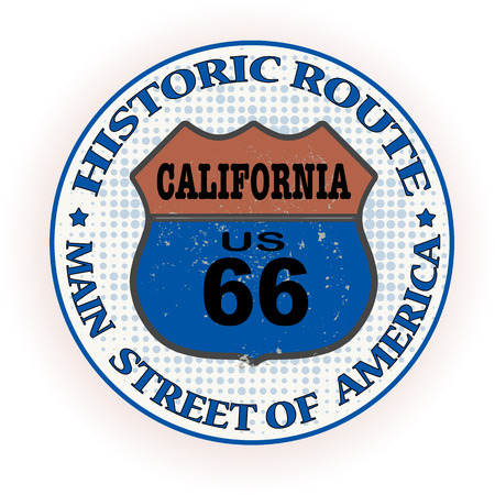 historic route california grunge stamp with on vector illustration Vector