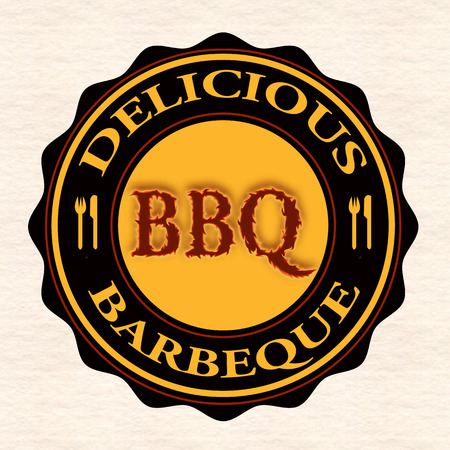 delicious barbeque grunge stamp with on vector illustration Vector