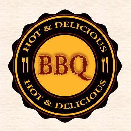 hot and delicious bbq grunge stamp with on vector illustration