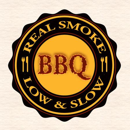 fumo reale bbq grunge timbro con il illustrazione vettoriale