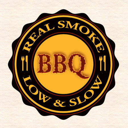 pork rib: real smoke bbq grunge stamp with on vector illustration