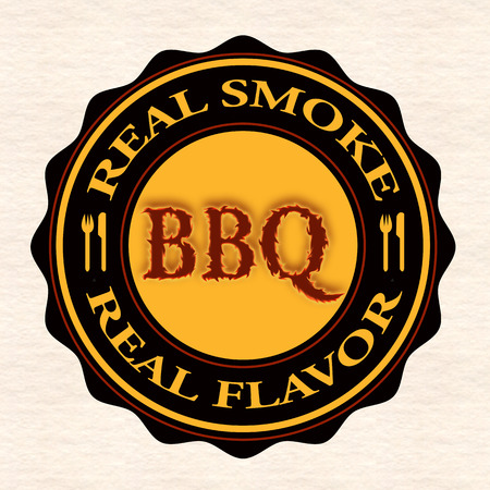 fumo reale bbq grunge timbro con il illustrazione vettoriale Vettoriali