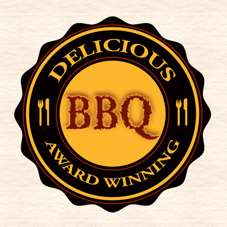 costillas de cerdo: deliciosa barbacoa grunge con sello de ilustraci�n vectorial