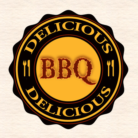 delicious bbq grunge stamp with on vector illustration