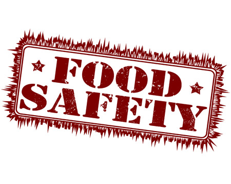 food safety grunge stamp with on vector illustration Illustration