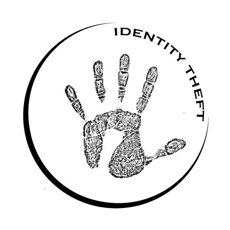 office theft: identity theft grunge stamp with on vector illustration
