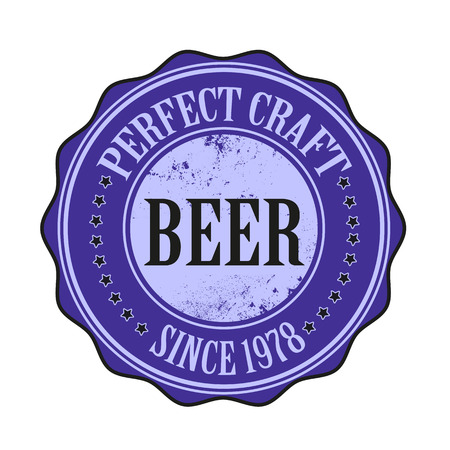perfect craft beer vector illustration on grunge stamp with Vector