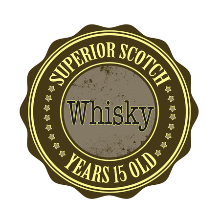 yello: Superior Scotch whiskey stamp with grunge vector illustration on Illustration
