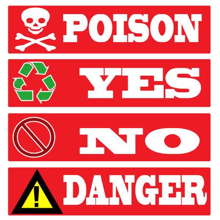 poison, yes, no, danger stamp with grunge set on vector illustration Vector