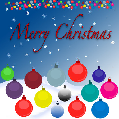 Merry Christmas background with vector illustration on