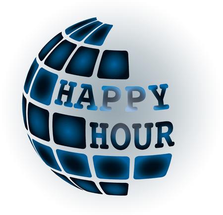 salt free: happy hour label stamp with on vector illustration Illustration