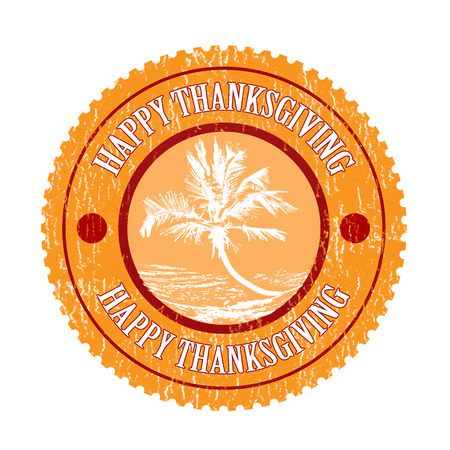 needy: happy thanksgiving grunge stamp with on vector illustration