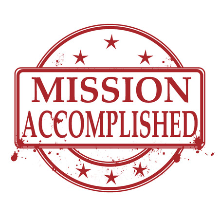 accomplish: mission accomplished grunge stamp with on vector illustration