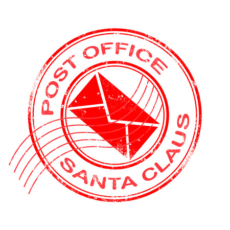 post office stamp with santa claus on grunge vector illustration