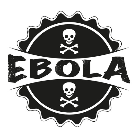 death s head: grunge stamp with text on ebola vector illustration Illustration