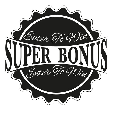 label stamp with text enter to win super bonus on vector illustration
