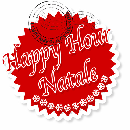 english text: label stamp with english text happy hour on Christmas vector illustration Illustration