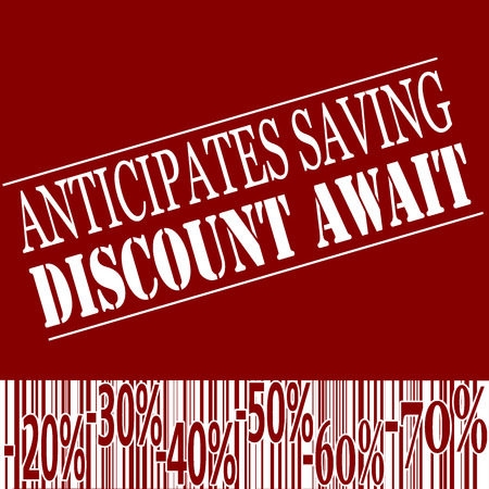 await: Background red with Rext anticipates saving discount await on vector illustration