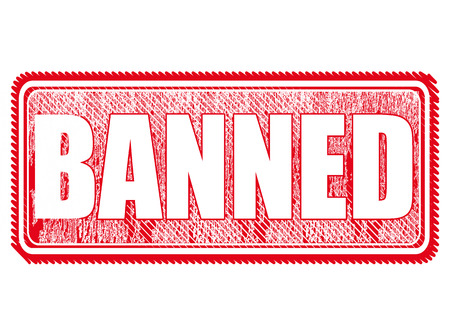 banned: grunge stamp with text on banned vector illustration
