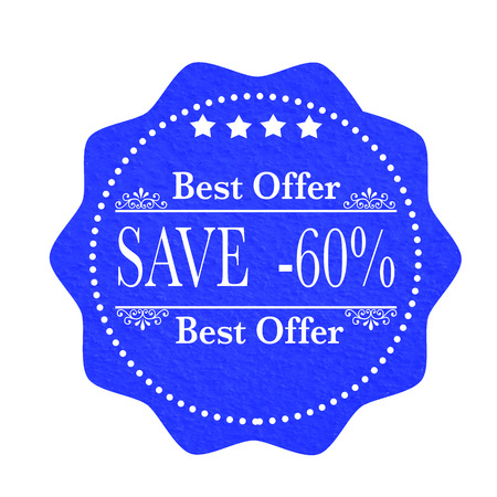 label stamp with text best offer save -60% on vector illustration