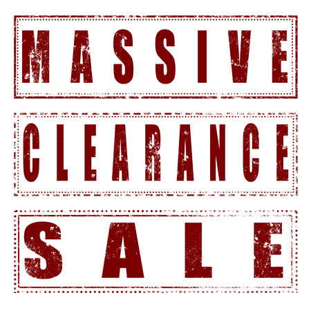 massive: grunge set stamp with text massive clearance sale on vector illustration