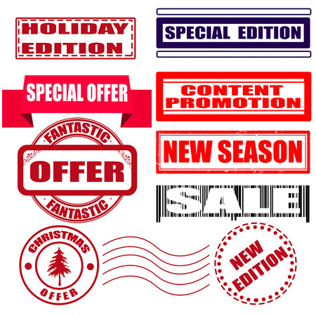 edizione straordinaria: grunge set timbro con l'edizione di vacanza testo, l'offerta, la vendita, edizione speciale in illustrazione vettoriale Vettoriali