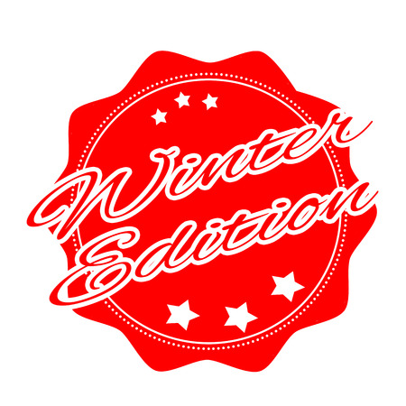 editor: label stamp with text editor on winter vector illustration