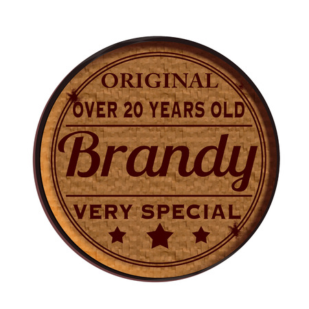 brandy: Label stamp with text Original brandy on vector illustration