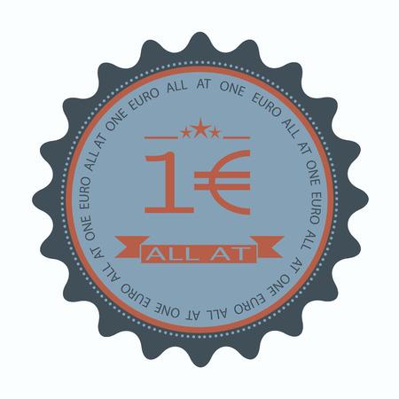 címke bélyegző szövegét minden egy euró vecto rillustration