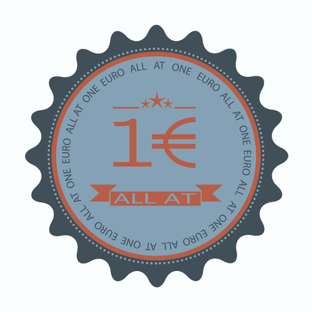 label stamp with text all at one euro on vecto rillustration
