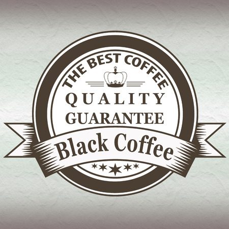 quality guarantee: label text stamp with the best coffee, black coffee quality guarantee Illustration