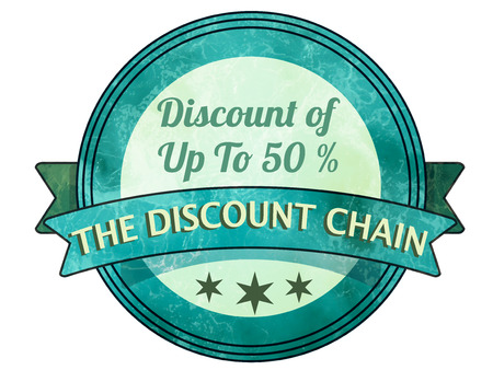 label stamp with the text discount chain on vector illustration Illustration