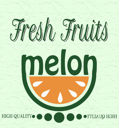 background with text on fresh fruits melon vector illustration Illustration