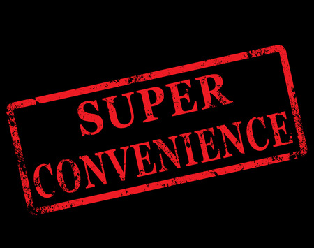 convenience: grunge stamp with text on super convenience vector illustration