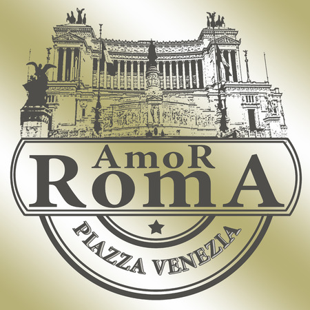 background with text amor roma on vector illustration