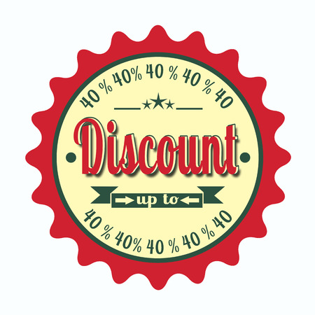 label text stamp with discount up to, on vector illustration