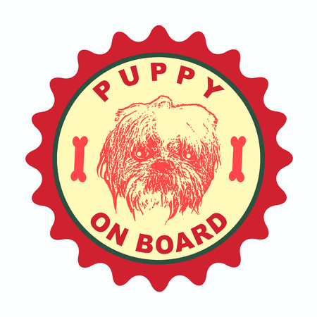 label stamp with text puppy on board on vector illustration