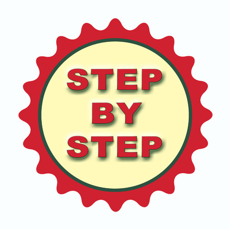 label stamp with text step by step on vector illustration