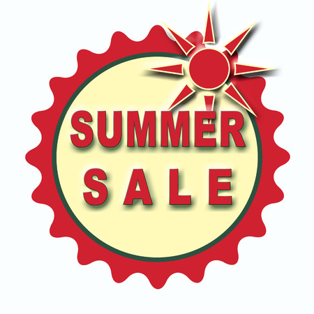 label stamp with text summer sale on vector illustration
