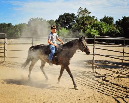 Young Boy Riding Horse Reklamní fotografie