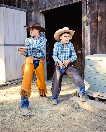 Brothers Playing Cowboy Stock Photo