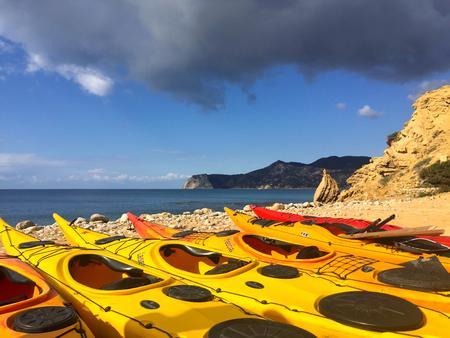 Kayak tour at the mediterranean sea (Ibiza and Formentera, Spain) Stock Photo