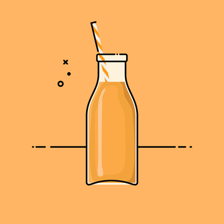 Orange healthy smoothie in a glass hipster bottle. Flat vector illustration. Illustration