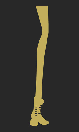 Illustration silhouette of long woman legs with boots.