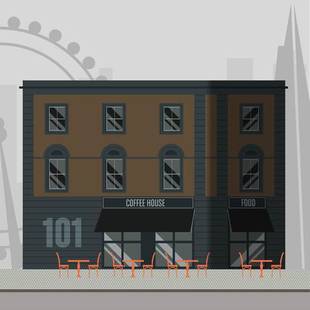 Immeuble londonien moderne et branché avec un bar-terrasse au rez-de-chaussée. Vecteurs