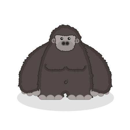 Vector illustration of a cute fat and flurry big cartoon gorilla. Foto de archivo - 120565490