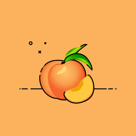 Peach isolated on orange background with slice on the side. Flat vector illustration. Vectores