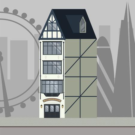 Pub tradicional inglés con el horizonte de Londres al fondo. Ilustración de vector