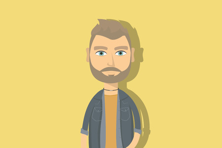 Hipster cartoon character. Man with beard and necklace. Flat vector illustration. Stock Illustratie